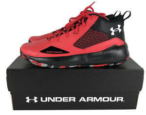 Under Armour High Top Basketball Shoes Black Red Mens 10 New 3023949-601 UA