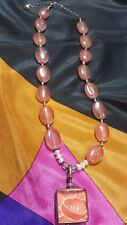 PINK CRYSTAL ROSE AGATE NECKLACE WITH 925 STERLING PENDANT 7 REAL PEARLS