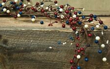 New Primitive Country Americana RED WHITE BLUE Berry Garland Swag Vine 4 ft.