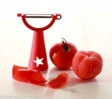 Tupperware Universal Vegetable Potato Peeler Horizontal Red w/ Star Punch New