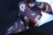 ERMENEGILDO ZEGNA  Burgundy Red with Blue, White and Beige Floral Tie