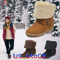 Women's Winter Snow Boots Foldable Mid Calf Shoes Ladies Booties Fluffy Warm US