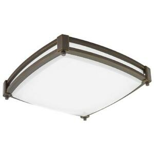 Square Saturn 13 in. Antique Bronze LED Flush Mount (4000K) by Lithonia Lighting