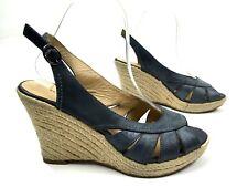 3015e1c72b95 Franco Fortini Womens Wedge Sandals Size 8 Blue Distressed Leather  Slingbacks