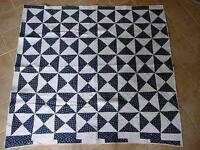 "REVERSIBLE  Flying Geese Antique Quilt Hand Pieced Hand Quilted 80"" by 78"""
