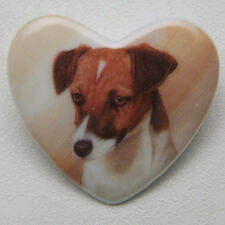 JACK RUSSELL CERAMIC HEART PIN BROOCH DOG BREED sale! NEW IN PKG Gift
