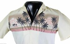 VTG 80s TRIUMPH Of California HAWAIIAN SHIRT Small Beige Made In USA! Deadstock