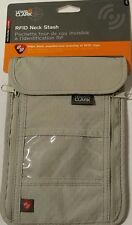 Lewis N Clark RFID Neck Stash Pouch Travel Holder Passport Id ,Wallet Bag, Tan