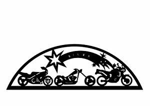 Edelstahlschwibbogen für Außen (einfach) Motiv Biker mit Schweif