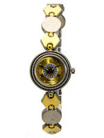 FALCON:WOMEN'S STAINLESS STEEL GOLD AND SILVER TONE METAL SUN LINKS ANALOG WATCH