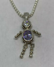 925 Sterling Silver Birthstone Figure Clear Purple Cubic Zirconia Necklace