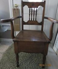 Antique Eastlake Hardwood Toilet Chair Night Stool, Convenience, Commode