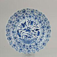 Antique Kangxi 18C Blue white Dish Lotus Ducks Qing Chinese Porcelain China