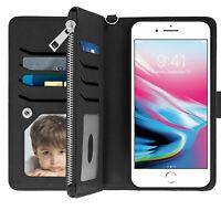 Étui iPhone 6 Plus/6S Plus/7 Plus/8 Plus Portefeuille Coque Amovible - Noir