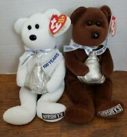 "Lot Of 2 TY Beanie Babies ""HUGSY"" & ""COCOA BEAN Hershey's 100 Yrs Ann. Bears"