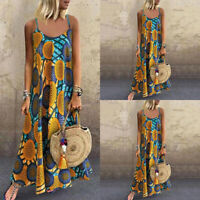 ZANZEA Women Summer Floral O Neck Long Dress Ladies Loose Kaftan Maxi Dresses