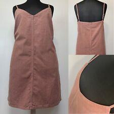 Sz 18 - ASOS - Pinafore Dress Blush Pink Corduroy V Neck Slip Strappy Immaculate