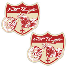Full Throttle Biker Laminated Stickers Bobber Chopper Motorcycle decal