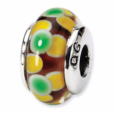 Sterling Silver Reflections Bracelet Charm Green Floral Hand Blown Glass QRS658
