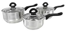 Buckingham 3 Piece Induction Cookware Saucepan Pot Pan Set Stainless Steel