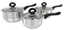 Buckingham 3 Piece Induction Pan Set Saucepan Set Cookware Pot  Stainless Steel
