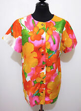 HAWAII VINTAGE '60 HUKILAU Camicia Donna Cotton Flower Woman Shirt Sz.S - 42