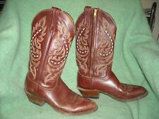 cowboy boot leather Lucchese 2000 sz 8 1/2 D pottery red brown fancy stitch lace