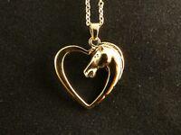 Pferd im Herz Halskette 24 Karat Vergoldet Damen Reiten Sport Liebe Love