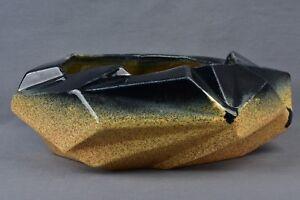 Muncie Pottery 1928 Rombic Gloss Black Peachskin Console Bowl #306-9