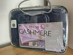 Olivier Pascal Cashmere Mix Luxury Ultra Warm Navy Blanket/Throw 140 x 176cm