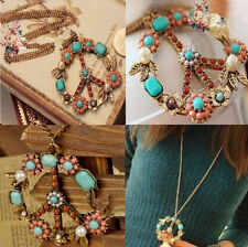 Women Gift Jewelry Long Chain Necklace Peace Sign Bronze Pendant Crystal