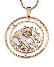 Panda Bear Pendant & Necklace. Chinese Coin Hand cut - 1 inch diameter ( # 68 )