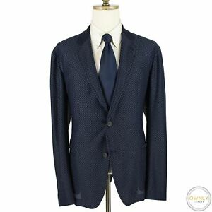 NWOT CURRENT Giorgio Armani Blue Polyester Blend Cross Hatch Italy Jacket 46S