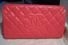 AUTHENTIC CHANEL QUILTED CAVIAR/CORAL CLUTCH HANDBAG