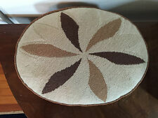 Vintage Needlepoint Pillow Tan Fan Pattern Palm Beach Estate Art Deco 1930