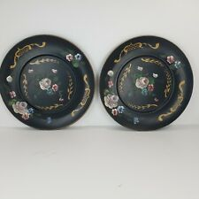 Vintage Black Roses Flowers Shabby Chic Wall Disk Plates Platters Trays Antique