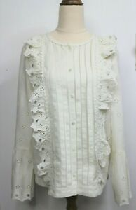 J Crew Broderie Anglaise Top Size 10T Ivory Long Sleeve Pleats Ruffles NWT