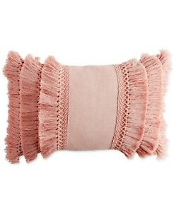 "Peri Home 12"" x 18"" Decorative Pillow Fringe Cotton BLUSH 396"