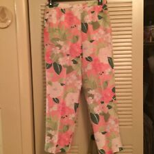All Silk Fully Lined 14P Pink Lime Floral Ankle Pants