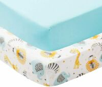 Crib Sheet, 2 Pack Fitted Standard Animal Crib Sheets Set for Boys and Girls