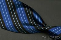 STEFANO RICCI Blue Black Striped 100% Silk Mens Luxury Tie - 4.125""