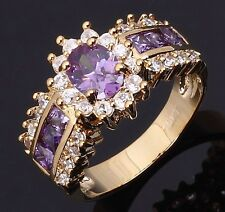 Gorgeous Anniversary Size 8 Olive Cut Amethyst 18K Gold Filled Women's Ring Gift