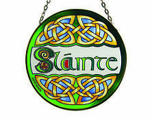 """6"""" Round Stained Glass Hanging Panel With Slainte Design"""