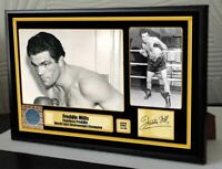 """Freddie Mills Boxing World Champion Framed Canvas Print Signed """"Great Gift"""" Trib"""
