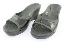 Crocs Womens Sately Slide Sandals Black Wedge Heel Size 7