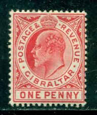 GIBRALTAR 51 SG67 MH 1906-12 1p red KEVII Wmk Mult Crown CA Cat$7