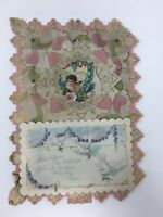 Victorian St. Valentine's Greeting Card Stand Up Angel Doves Brass Rivets