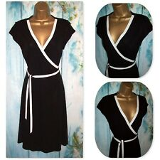 NEW LADIES PRINCIPLES DRESS 12 PETITE, Black Stretch Belted Wrap Occasion Dress