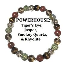 Powerhouse Tiger's Eye, Jasper, Smoky Quartz, & Rhyolite Stretch Bracelet FreeSH