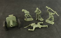 """Lot of 4 Vintage TeeMee Green Army Men + 1 Cannon - 2"""" Tall Toys - Good!"""